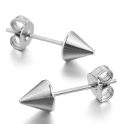 INBLUE Men's Stainless Steel Stud Earrings Silver Black Rivets