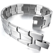INBLUE Men's Stainless Steel Bracelet Link Wrist Black Silver Gold