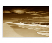 100 x 70 cm Picture Sepia Beach with sea and mountains