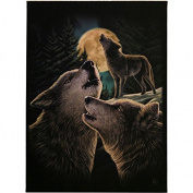 Wolf Song - Three Wolves Howling Under Full Moon - Fantastic Design by Artist Lisa Parker - 19cm x 25cm Canvas Picture on Frame Wall Plaque / Wall Art