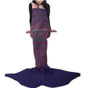 Ustide New Purple Mermaid Tail Blanket, Girls Mermaid Tail Kids Size