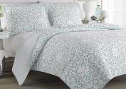 Laura Ashley Blue Reversible Quilt Set, Full/Queen, Floral, Mia
