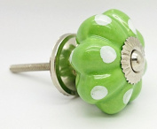 Light Green Colour White Polka Dot Spotted Melon Ceramic Door Knob Vintage Shabby Chic Cupboard Drawer Pull Handle 4508-LGN