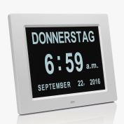 Upgrade - With Alarm Function 20cm Digital Alarm Clock Day Clock - Digital Calendar Day Clock with Extra Large Non-Abbreviated Day & Month