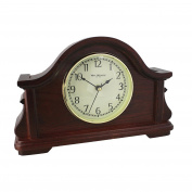 Wooden Wood Brown Mantel Table Clock Broken Arch Arabic Dial 21 x 33 cm