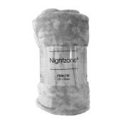 AmigoZone Soft Luxury Faux Fake Fur Mink Throw Sofa Bed Blanket - Silver Grey - Medium