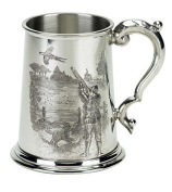 Pewter 1 pint tankard with a game shooting scene