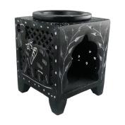 Black Elephant Square Jali Soapstone Essential Oil Burner / Aromatherapy Oil Burner - Small
