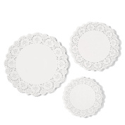 eBoot 36 Pieces White Lace Paper Doily Cake Packaging Paper Pad, 17cm , 22cm , 27cm
