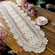 Ustide Floral Hand Crochet Table Placemats Beige Lace Table Doilies Cotton Table Placemats Oval Table Runner,30cm x 120cm