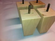 Foam & Upholstery Warehouse X4 Raw Unfinished Tall Square Wooden Furniture Feet, For Sofas Chairs & Stools. 125mm High.