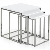 Vida Designs Casa Vida Aztec Nest of Tables, White Gloss Square Chrome Modern Living Room Furniture, Wood