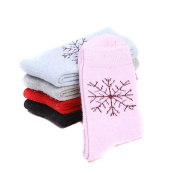 5 Pair Assorted Colour Snowflake Pattern Thickened Wool Socks for Women Lady Girl Keep Foot Warmer in Winter Colour Random