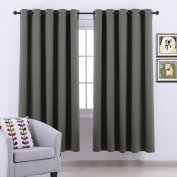 Thermal Insulated Grey Blackout Curtains - PONY DANCE Solid Eyelet Room Darkening Energy Saving Window Blackout Curtain Panels Privacy Protect / Window Treatments, 2 Pieces, 170cm Width x 180cm Drop, Grey