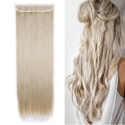 Clip in Hair Extension Full Head Synthetic Hairpieces Thick Long Straight 1piece 5clips 70cm / 70cm ,ash blonde mix bleach blonde