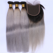 Tony Beauty Hair Dark Roots Silver Grey Ombre 4x4 Lace Closure With Weaves Extensions Silky Straight 1B/Grey Ombre Brazilian Human Hair 3 Bundles With Closure 4Pcs Lot