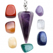 JOVIVI 7 Chakra Tumbled Stones and 6 Facet Natural Amethyst Pendulum Healing Crystals Set