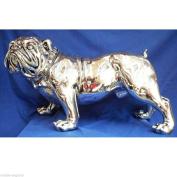 Life Size Bulldog Figure Statue 70cm Silver Electroplated Resin Animal Dog
