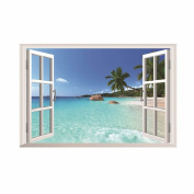 GOOTRADES 3D Beach Sea Wall Decal Removable Wall Sticker