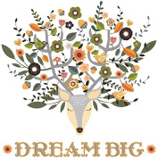 Kath & Cath Deer Head, Flowers and Birds Dream Big Wall Stickers - Vinyl Removable Self-Adhesive Multi-colour Wall Mural Art Decoration
