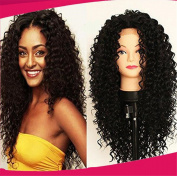 ATOZWIG Black Colour Afro Curly Hair Heat Resistant Black Kinky Curly Wig Synthetic Wigs For Women