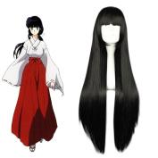 """Mcoser 31.5"""" 80cm Black-flat Bang Long Straight Synthetic Hair- Inuyasha Kikyou"""