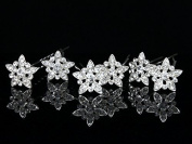Set of 6 Star Flower Rhinestone Crystal Hair Pins H072 by Venus Jewellery