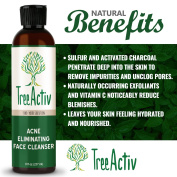 TreeActiv Acne Eliminating Face Cleanser | Natural Facial Treatment Cleansing Skin Wash | Castile Soap | Sulphur | Charcoal | Vitamin C | Peppermint | Men Women Teens | Sensitive | Unscented | 240ml