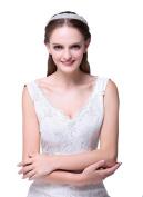 Icegrey Bridal Headpiece Crystal Rhinestone Wedding Hair Band with Ribbon White