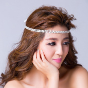 Icegrey Bride Bridal Wedding Headdress Headband Tiara Double Strip Diamond Hair Head Band Ivory