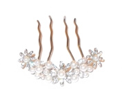 Crystal and Beaded Flower Hair Comb
