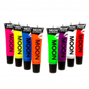 Moon Glow - Blacklight Neon Lip Gloss – 15ml Set of 8 – Scented and glows brightly under UV / Blacklight!