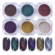 NICOLE DIARY 6Colors/set 3D Cat Eye Magnet Nail Powder Magic Magnetic Glitter Dust UV Gel Manicure Nail Art Pigment