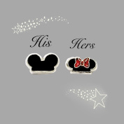2pcs Mickey & Minnie Mouse Caps St 2 Floating Charm fits Lockets