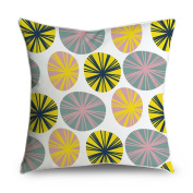 FabricMCC Throw Pillow Cover Colourful Girly Spring Pastel Circle Discs Pattern Square Accent Decorative Pillow Case Cushion Cover 18x18