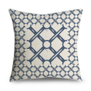 FabricMCC Throw Pillow Cover Navy Blue Cream Chain Link Circles Pattern Decorative Pillow Case Cushion Cover 18x18