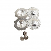 Set of 4 pcs, 2.5cm - 1.3cm Saddle Bright Silver Round Berry Concho W/ 0.6cm Chicago Screw Back
