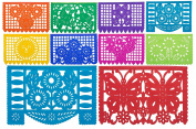 "Beautiful Medium Size Mexican TISSUE Papel Picado Banner ""Mi Tierra Linda"" - 10 TISSUE Multi-Coloured Panels - Designs and Colours as Pictured by Paper Full of Wishes"