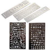 Loghot Set of 5 Creative Stainless Steel Portable Drawing Graffiti New Web UI/Number Alphabet 60 Apertures Rectangle Template Ruler Stencils
