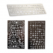 Loghot Set of 3 Stainless Steel Creative Portable Drawing Graffiti New Web UI/Number Alphabet Template Ruler Stencils