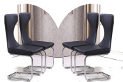 MODERNIQUE X4 Beloved Faux Leather Dining Chairs in Black with Thick Foam Padded Curve Back Panel and Chrome Frame, Super Saver Promotional Offer