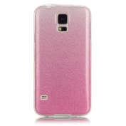 Moonmini Gradient Colour Sparkling Glitter Ultra Slim Fit Soft TPU Phone Back Case Cover for Samsung Galaxy S5 i9600 - Pink
