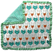 Dear Baby Gear Baby Blankets, Arrows Abstract, Coral and Mint, Mint Minky