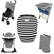 COVERZ-ALL (4-in-1) Premium Nursing Cover | Carseat Canopy | Shopping Cart & High Chair Cover | Infinity Scarf | Black and White Stripe Print is Perfect for Unisex Baby Shower Gifts!