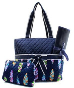 Quilted Feather 3pc Nappy Bag Set
