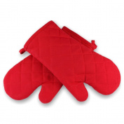 Tankerstreet Flame Retardant Cotton Oven Mitts Pair with Thick Terry Cloth Lining, Kitchen Oven Mittens Gloves Heat Resistant Silicone Without Fingers Red