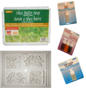 LIFE OF THE PARTY SHEA BUTTER SOAP MAKING KIT WITH 3 colourants, 2 SCENTS AND DRAGONFLY/LADYBUG mould