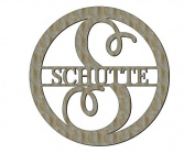 Unfinished Wood Circle Curly Letter with name Monogram 44cm X 44cm Door Hanger Wall Decor