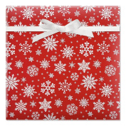 Snowflake on Red Jumbo Rolled Gift Wrap - 6.7sqm