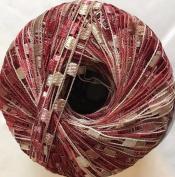 Cherry Pie Ala Mode Mini Ladder Yarn - Burgundy Pink Tan White Ribbon 50 Gramme 136 Yards